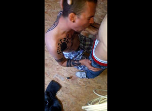 Tatted homosexual marionette blow on..