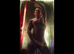 Fellow dance Striptease in glass cell
