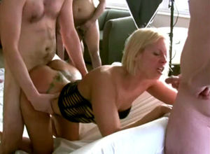 Blond bitch with inked culo drilled by..