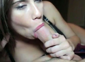 Lovely gf gives sultry blowjob, when..