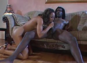 Tall dark-hued honey gets drilled by a..