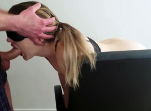 Eyes covered stunner gets ass-fuck..