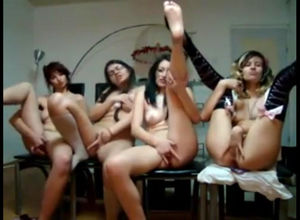 4 nude femmes fondle each other sans..
