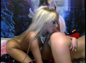 Two hot blondie lesbos knead each other