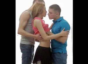 2 boys smooches virgin girl. When bare..