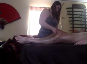 Sexy BBW masseur deepthroated dick..