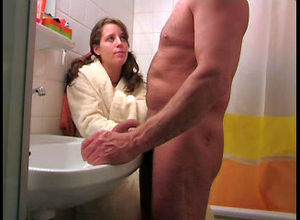 Uber-cute nubile tugging  man's dick,..